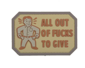 All Out Of Fucks to Give Morale Badge Tan