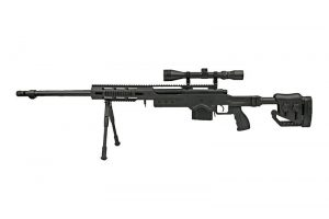 MB4411D sniper rifle replica with scope and bipod - black