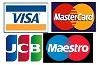Visa, Mastercard, JCB, Maestro